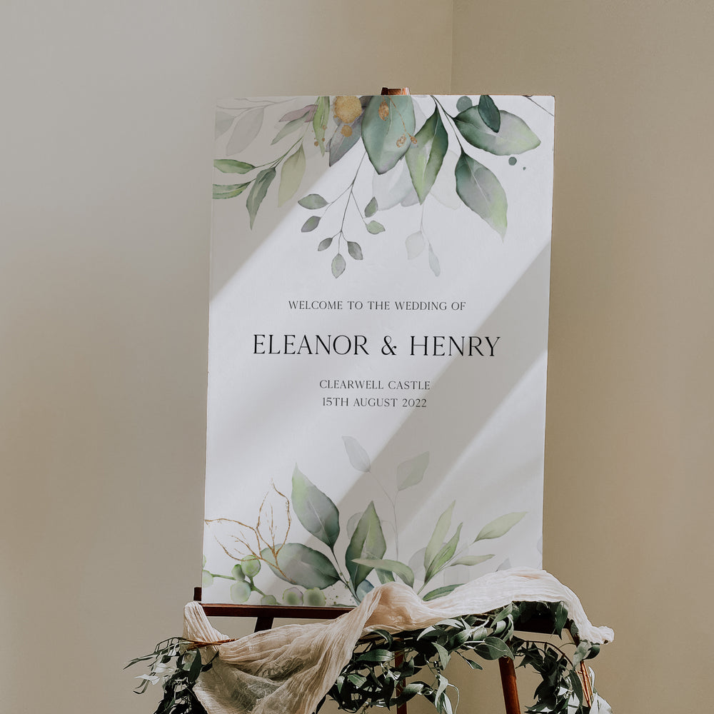 Modern Botanical Wedding Welcome Sign - Hyde Park Collection, Elle Bee Design