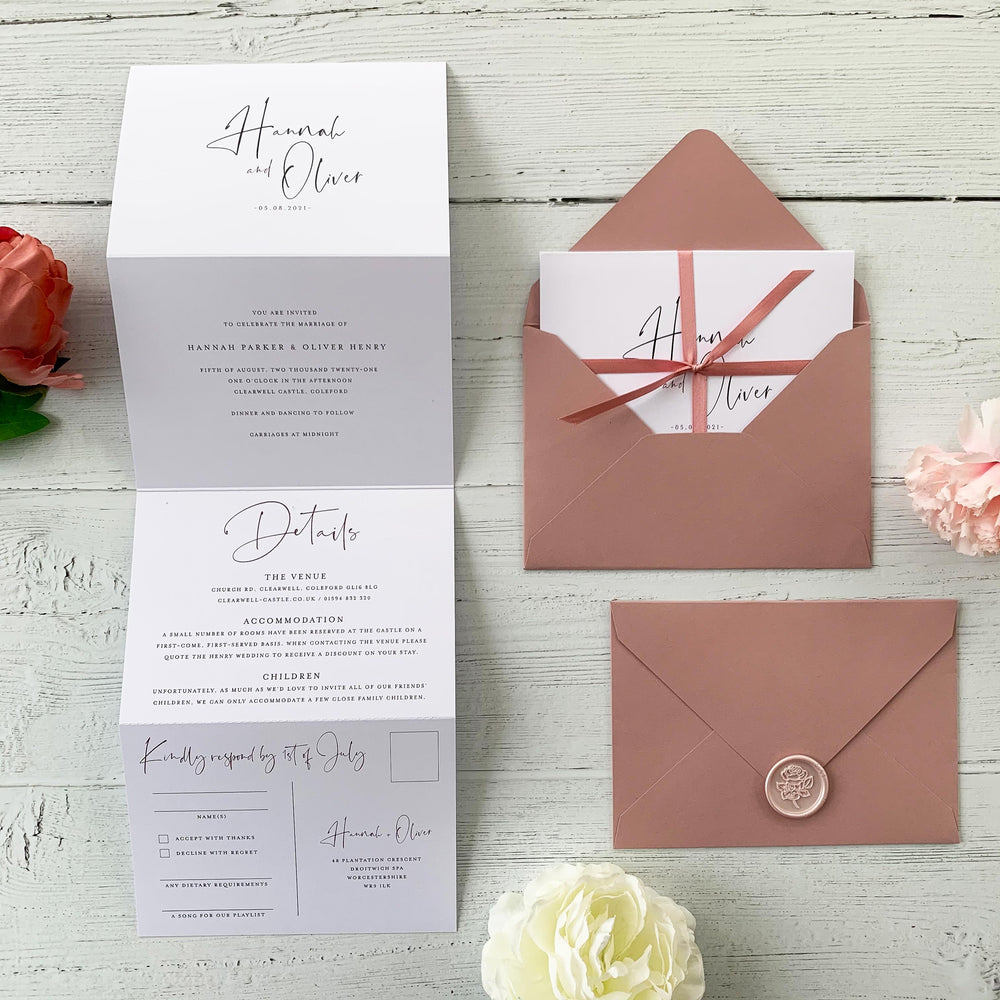 Modern Script Concertina Wedding Invitation - Kilburn Collection, Elle Bee Design