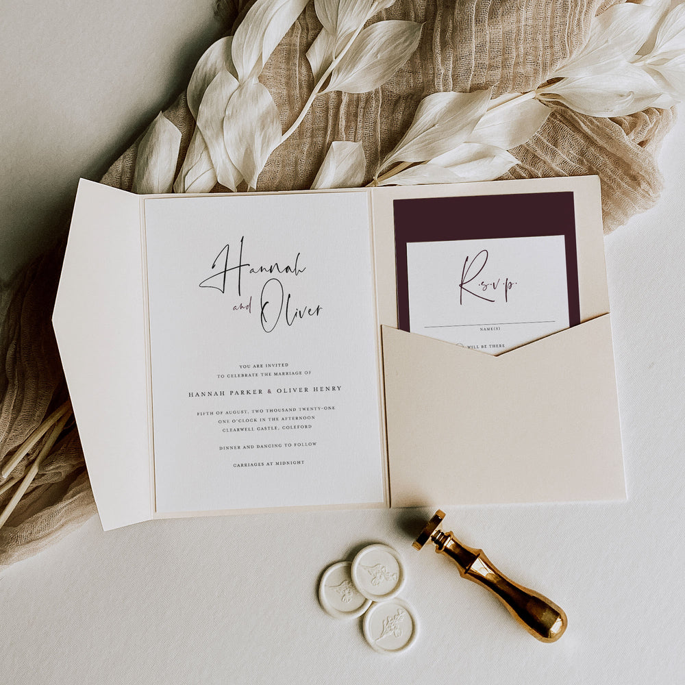 Pink Pocketfold Wedding Invitation - Kilburn Collection, Elle Bee Design