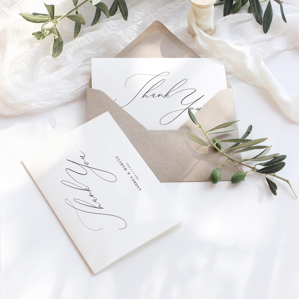 Calligraphy Wedding Thank You Card - Knightsbridge Collection, Elle Bee Design
