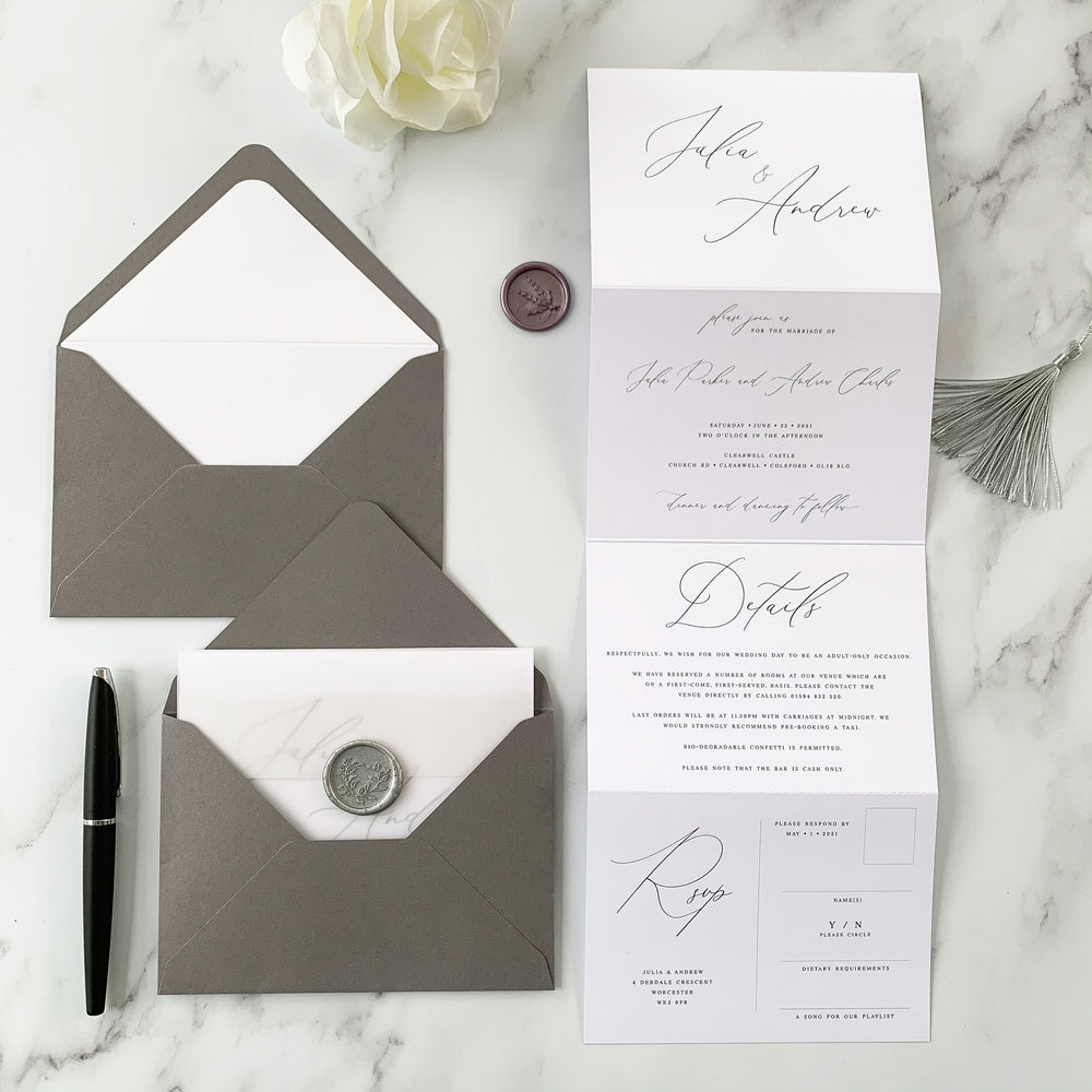 Knightsbridge - Concertina Wedding Invitation
