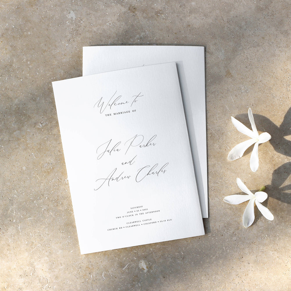Calligraphy Order of Service - Knightsbridge Collection, Elle Bee Design