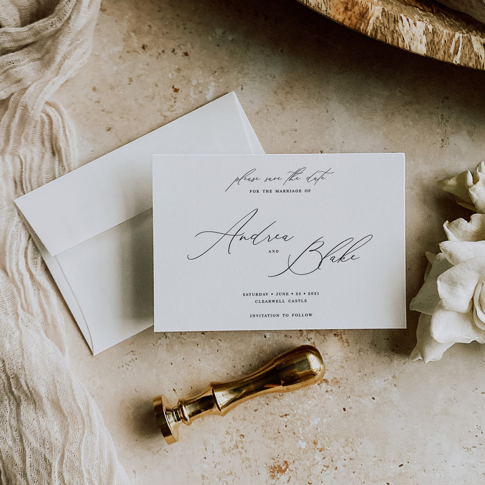 Calligraphy Save the Date Card - Knightsbridge Collection, Elle Bee Design