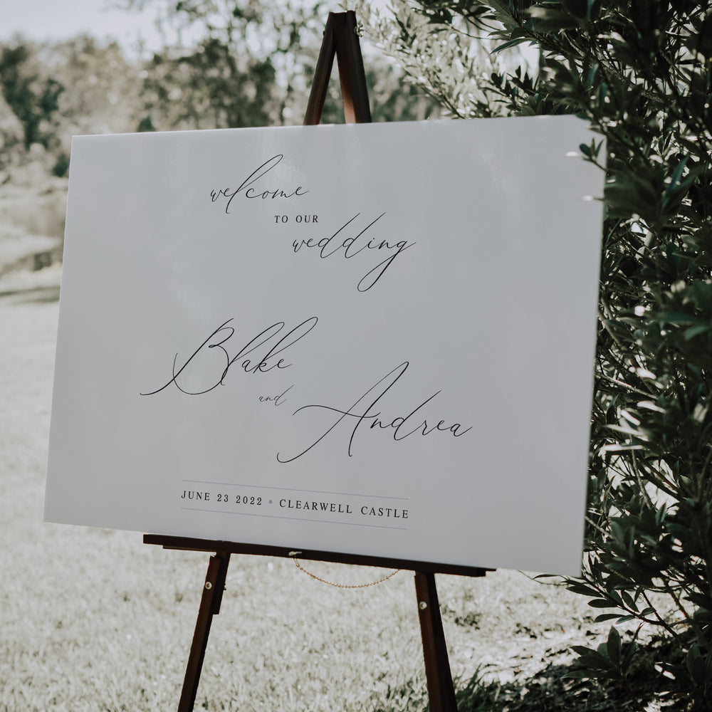 Elegant Calligraphy Welcome Sign - Knightsbridge Collection, Elle Bee Design