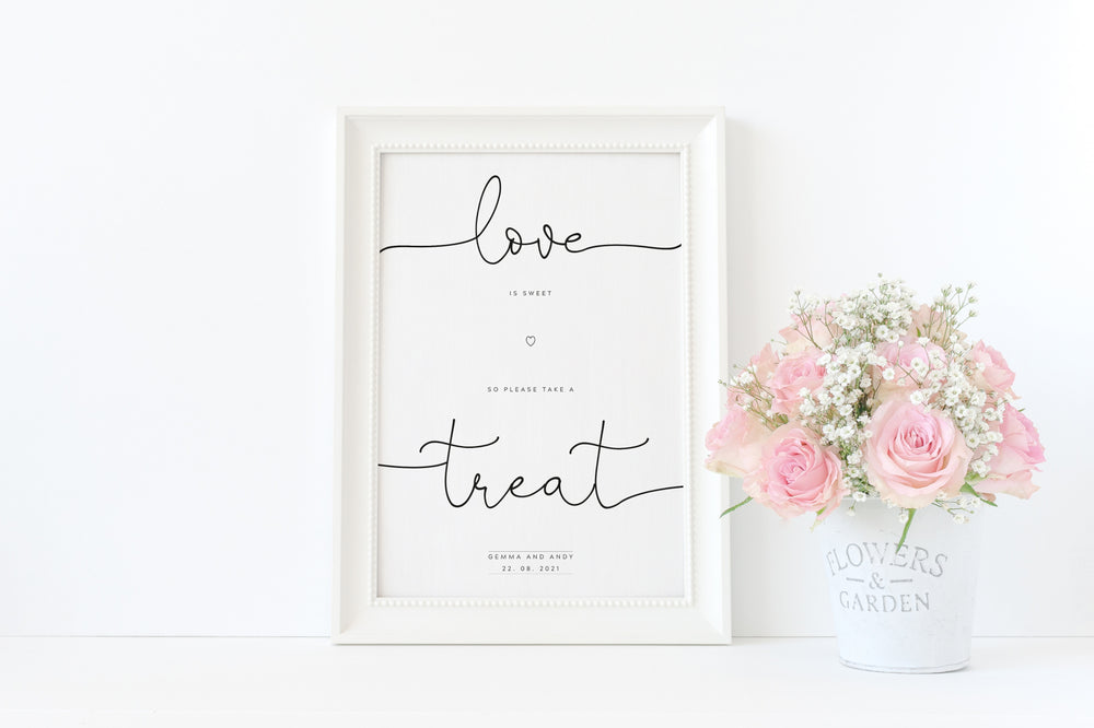 Sweet Cart Sign - Love is Sweet - Personalised