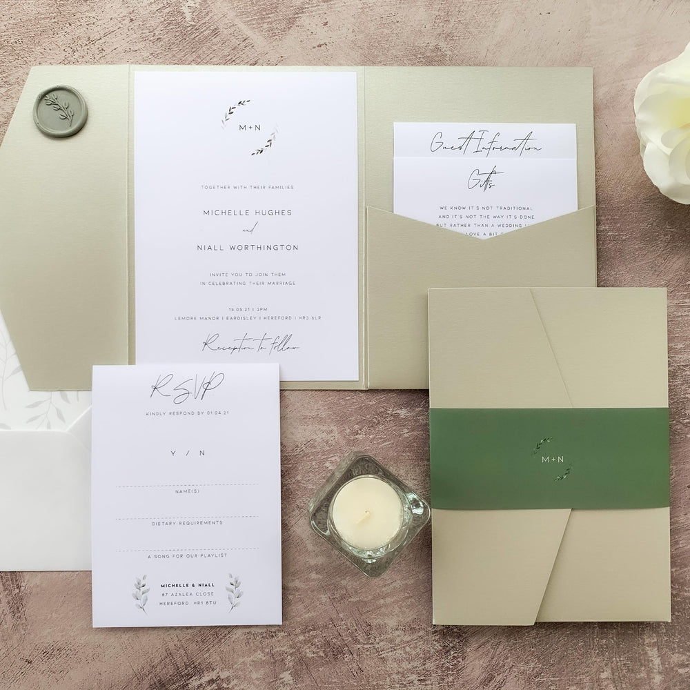 Green Botanical Monogram Pocketfold Wedding Invitation Suite - Mansion House Collection, Elle Bee Design
