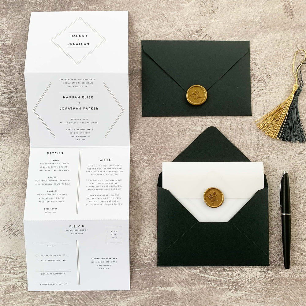 Modern Geometric Concertina Wedding Invitation - Mayfair Collection, Elle Bee Design