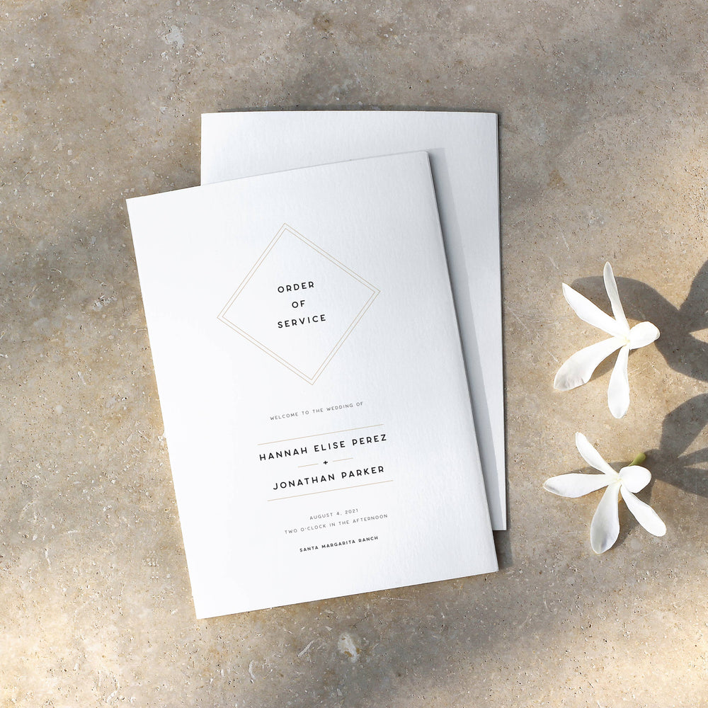 Modern Geometric Order of Service - Mayfair Collection, Elle Bee Design