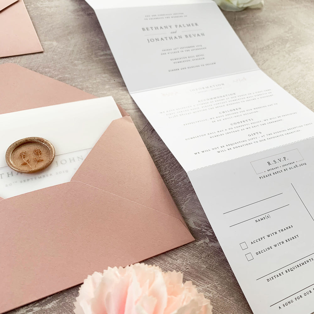 Blush Concertina Wedding Invitation - Newbury Collection, Elle Bee Design