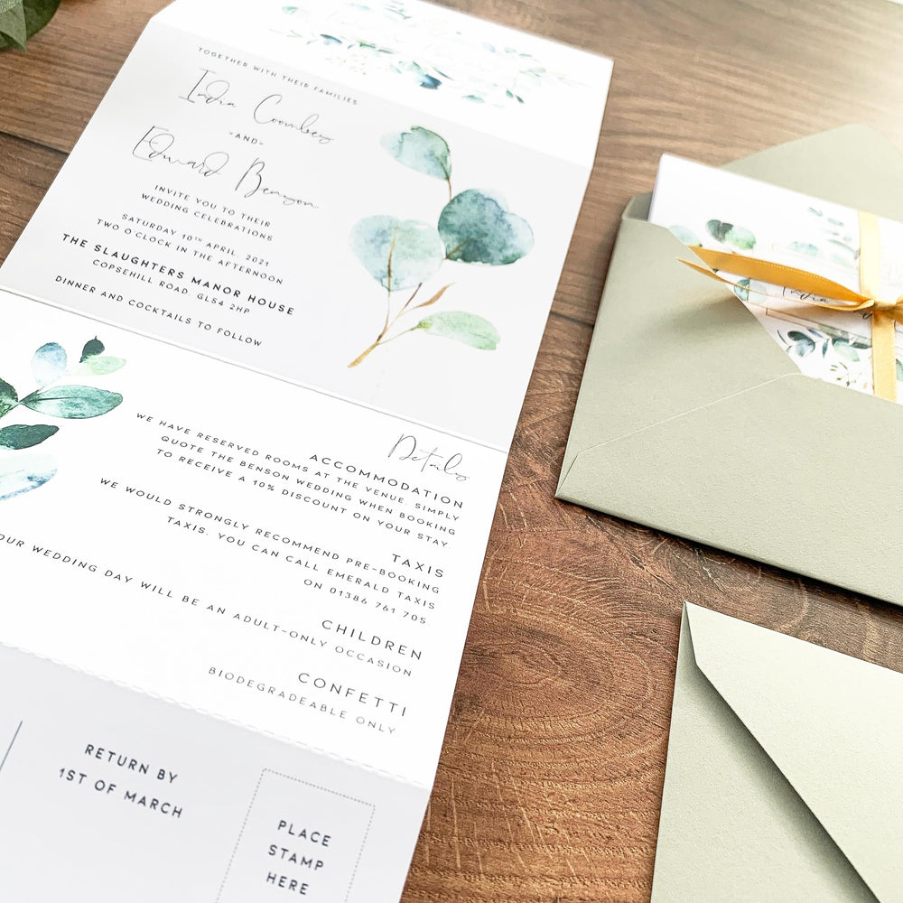 Eucalyptus Concertina Wedding Invitation - Northwood Collection, Elle Bee Design