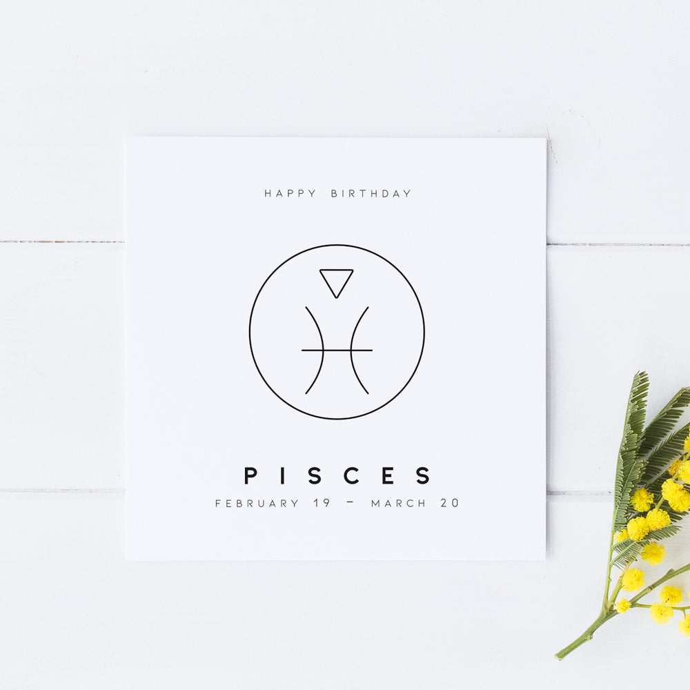 Pisces Star Sign Birthday Card, Birthday Card, Zodiac Birthday Card, Astrology Card, Signs of the Zodiac, Simple Birthday Card, Horoscope