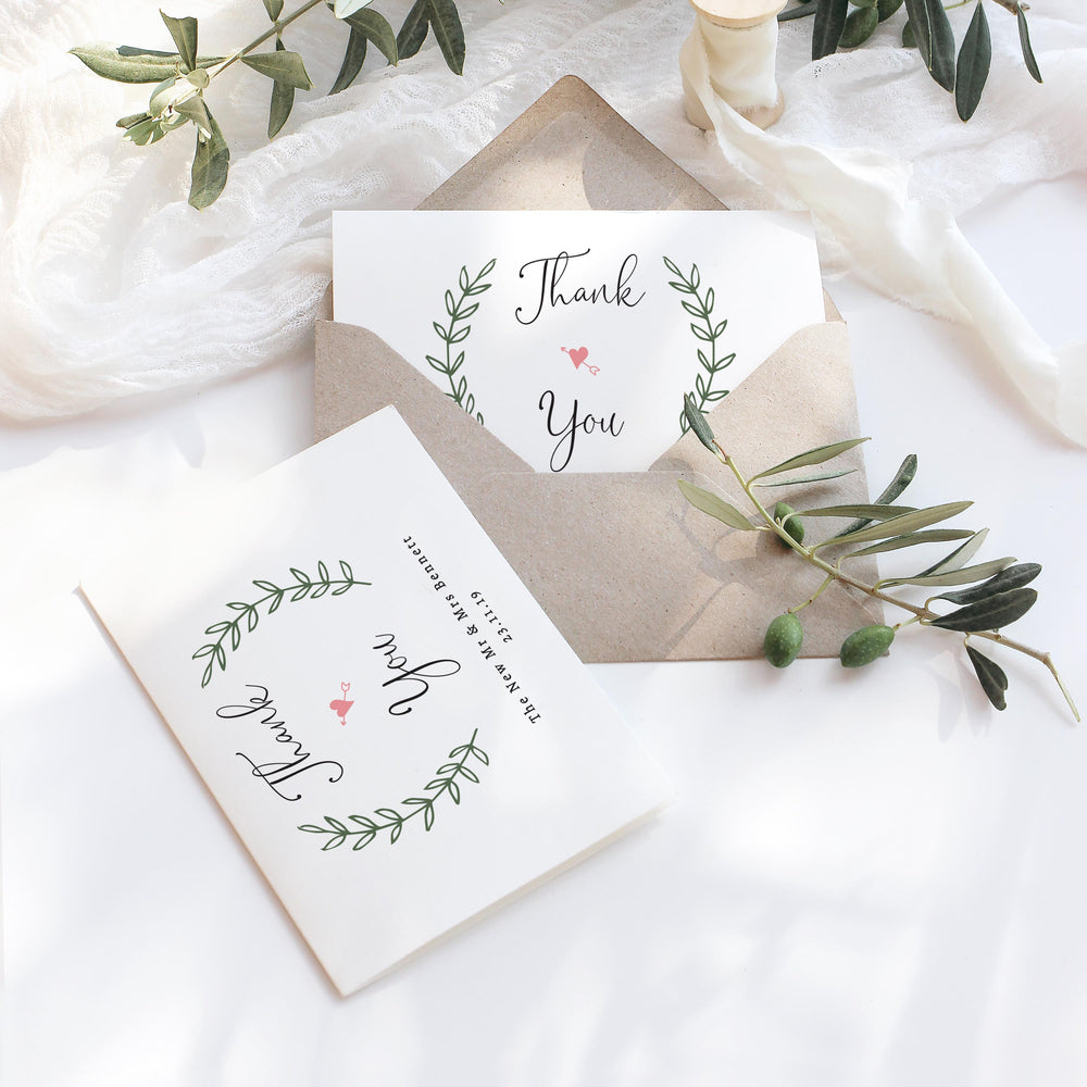 Vintage Wreath Wedding Thank You Card - Poplar Collection, Elle Bee Design