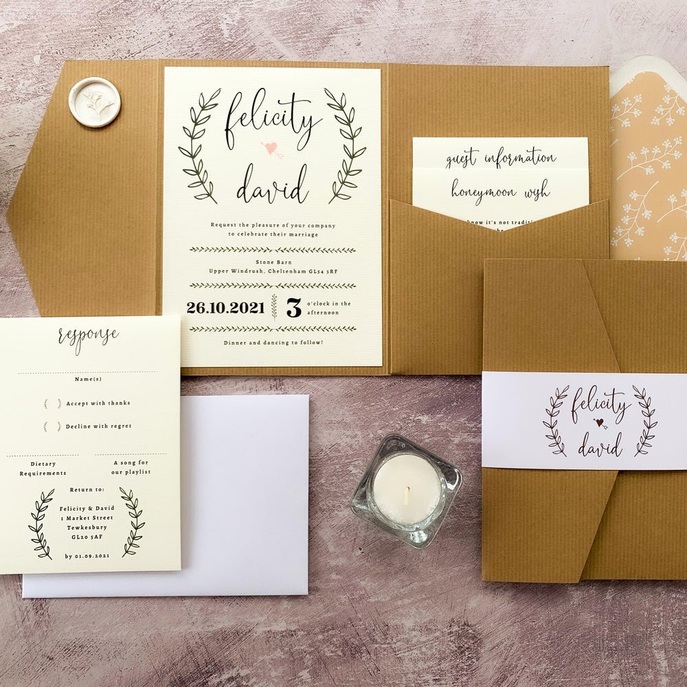 Rustic Vintage Pocketfold Wedding Invitation - Poplar Collection, Elle Bee Design