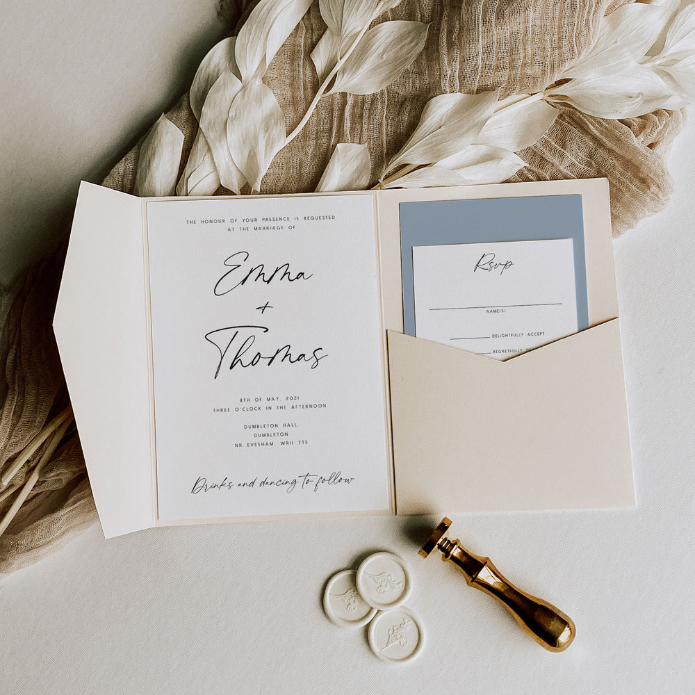 Modern Script Navy Pocketfold Wedding Invitation - Portobello, Elle Bee Design