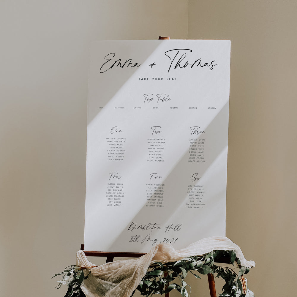 Modern Script Wedding Table Plan - Portobello Collection, Elle Bee Design