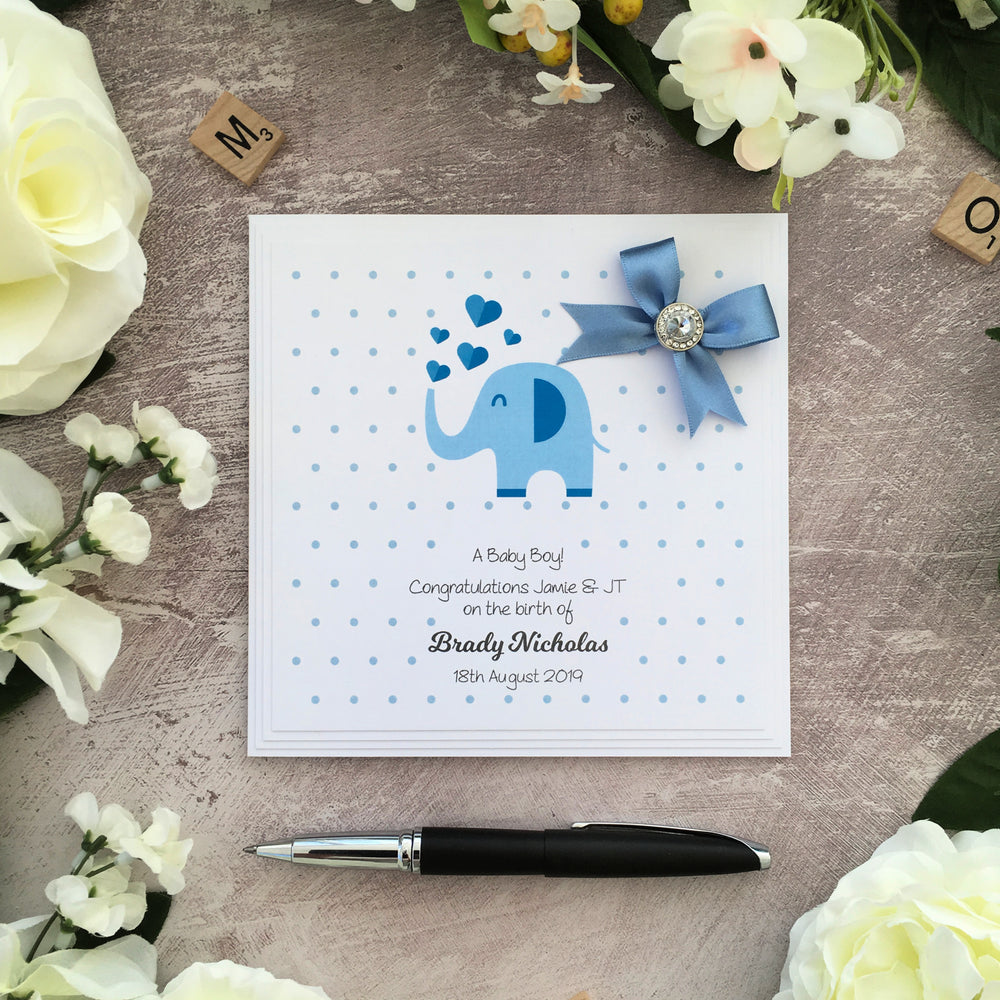 Personalised New Baby Boy Card Elle Bee Design