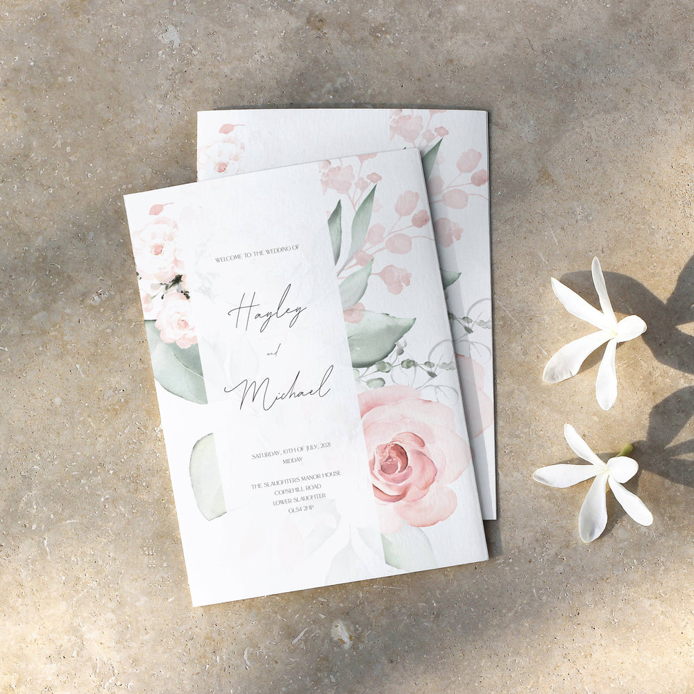 Pink Floral Order of Service - Royal Oak Collection, Elle Bee Design