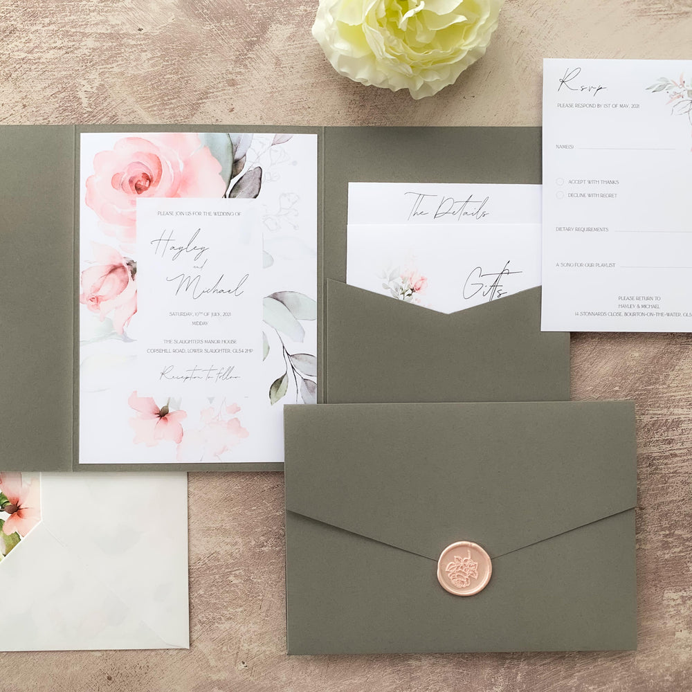 Pink Floral Pocketfold Wedding Invitation Suite - Royal Oak Collection, Elle Bee Design