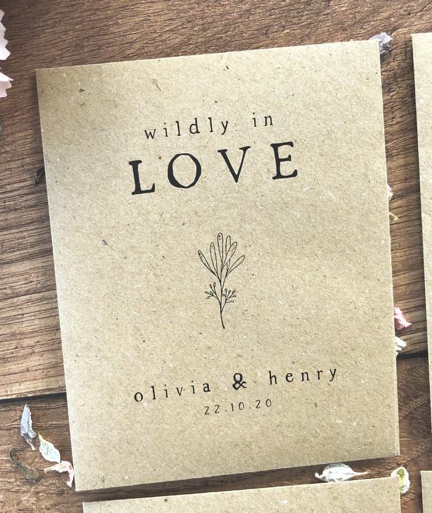Seed Packet Wedding Favour, Personalised Seed Wedding Favours, Let Love Grow, Wildly in Love wedding favours, Biodegradable Wedding Favour, Eco Friendly wedding favour