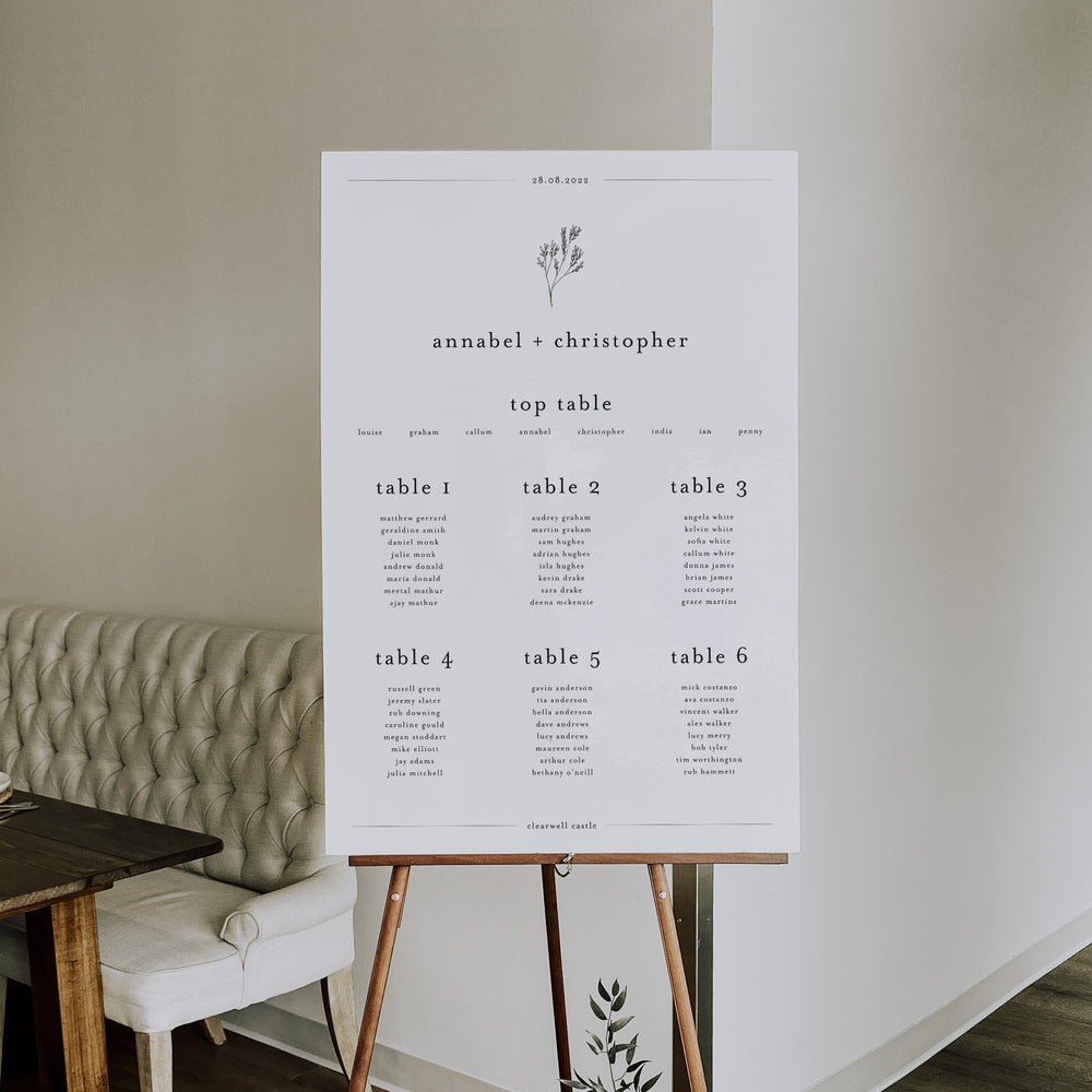 Pastel Floral Abstract Wedding Table Plan - Shoreditch Collection, Elle Bee Design