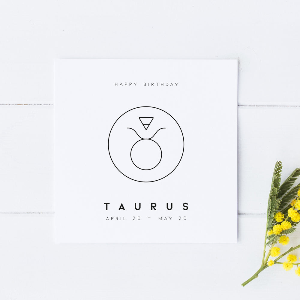 Taurus Star Sign Birthday Card, Birthday Card, Zodiac Birthday Card, Astrology Card, Signs of the Zodiac, Simple Card, Horoscope Card
