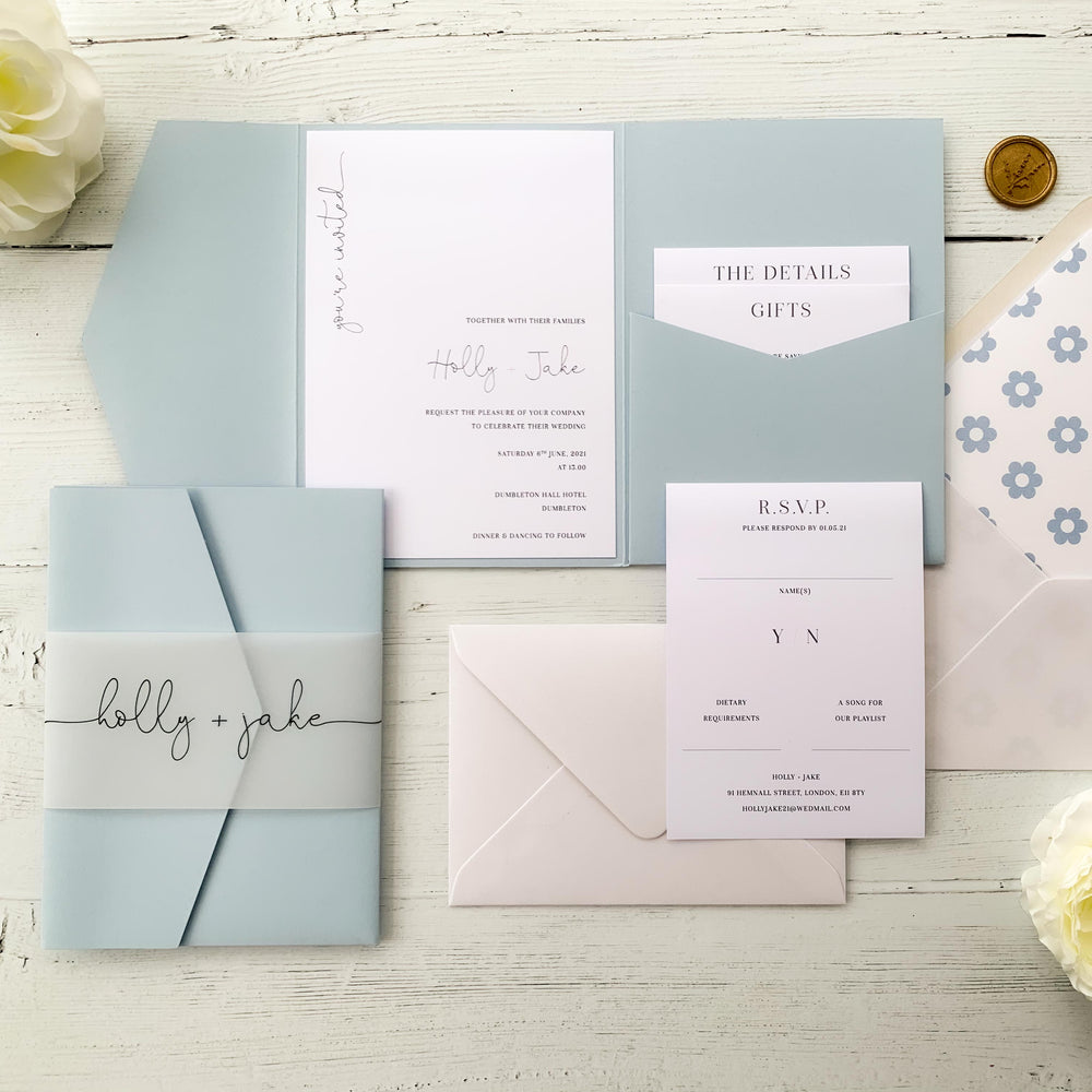 Baby Blue Pocketfold Wedding Invitation Suite - Victoria Collection, Elle Bee Design