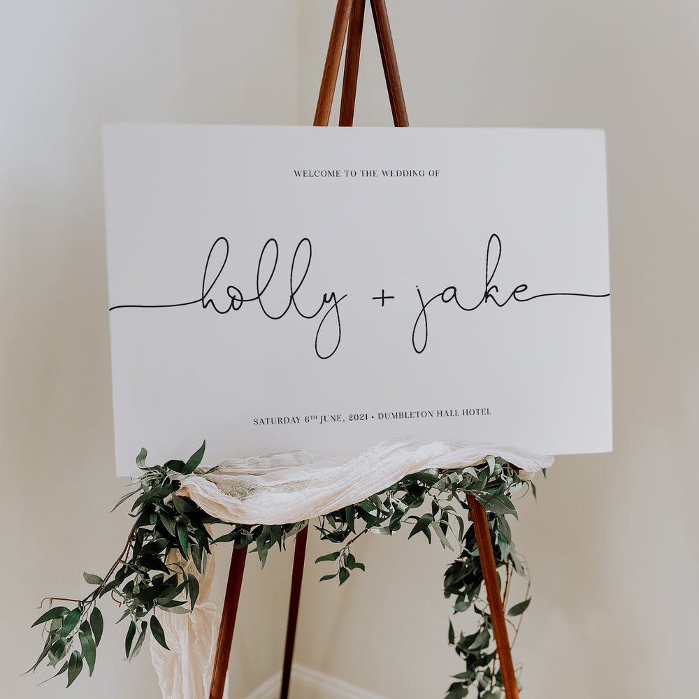 Simple Modern Wedding Welcome Sign - Victoria Collection, Elle Bee Design