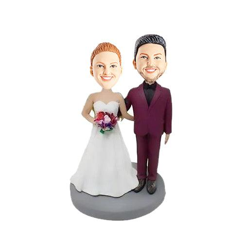 Arm to Waist Bride and Groom Wedding Anniversary Custom Figure Bobblehead