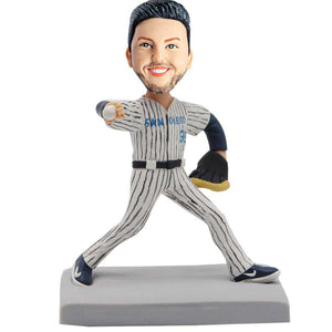 Baseball Male Player In Uniform Custom Figure Bobblehead