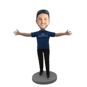 Be Generous Male with Outstretched Arms Custom Figure Bobblehead