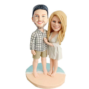 Beach Couple Relaxing On Vacation Custom Couple Bobblehead