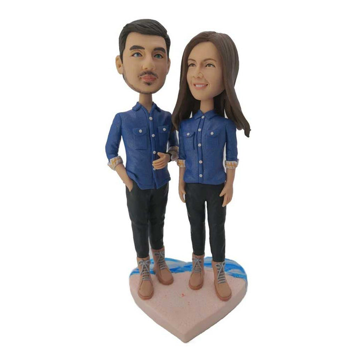 Beach Couple Wearing Jeans Shirts Custom Figure Bobblehead