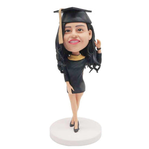 Personalized Beautiful Female Graduates In Black Dresses Custom Graduation Bobblehead Gift
