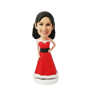 Beautiful Lady In Christmas Dress Custom Figure Bobblehead