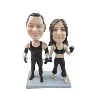 Boxing Couple Custom Figure Bobblehead