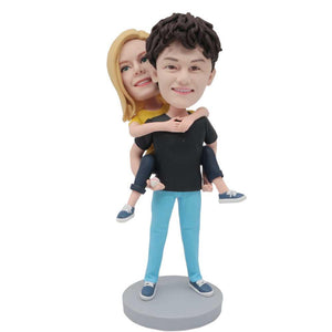 Boyfriend Carrying Girlfriend Couple In Black Clothes Custom Couple Bobblehead