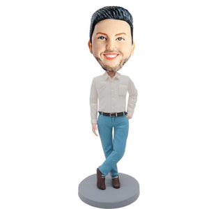 Business Man In White Shirt and Blue Pants Custom Figure Bobblehead