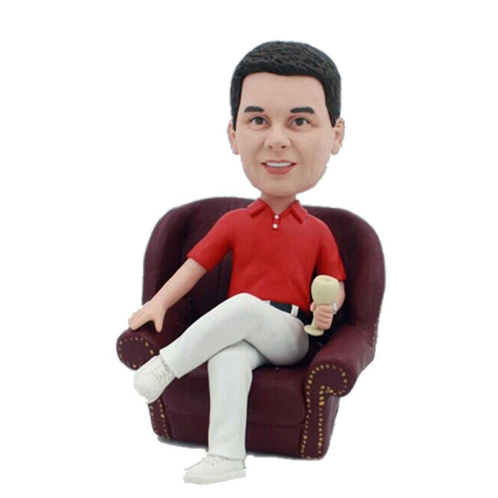 Business Man Sitting On Sofa with A Glass of Wine Boss Gift Custom Figure Bobblehead