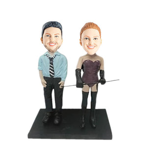 Businessman and Sexy Lady Couple Custom Figure Bobblehead