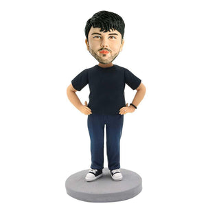 Casual Man with Hands on Hips Custom Figure Bobblehead