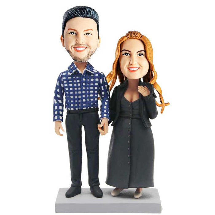 Casual Couple Holding Hands Custom Bobblehead
