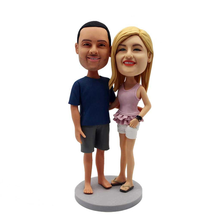 Casual Couple In Casual Clothes Custom Figure Bobblehead