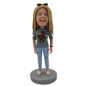 Casual Female In Torn Pants Custom Figure Bobblehead
