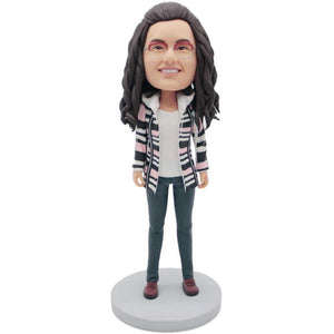 Casual Lady In Coat Custom Figure Bobblehead