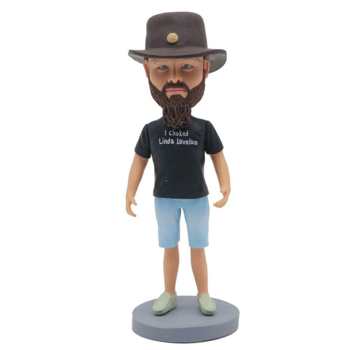 Casual Male In Black T-shirt And Blue Shorts Custom Figure Bobblehead