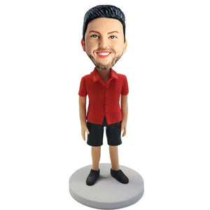 Casual Man In Red Shirt and Black Shorts Custom Figure Bobblehead