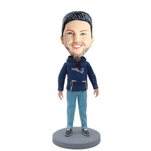 Casual Men In Blue Hoodies Custom Bobblehead