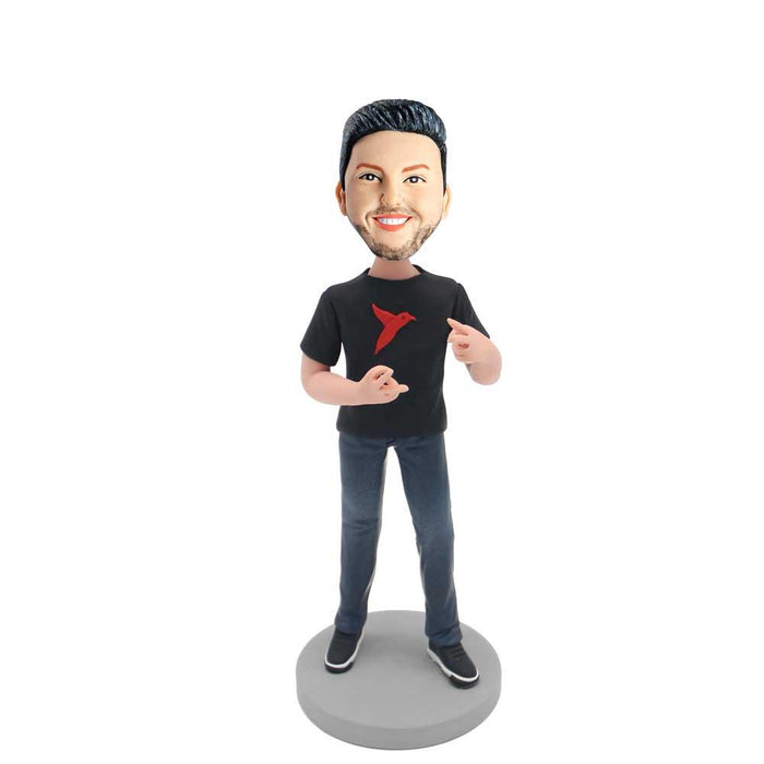Casual Men with Happy Gestures Custom Figure Bobblehead