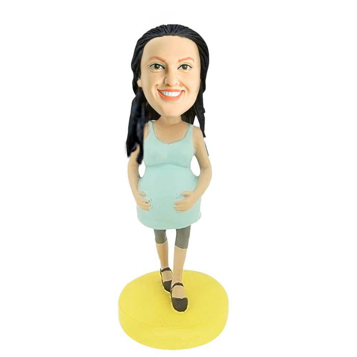 Casual Pregnant Mother Stroking Belly Custom Figure Bobblehead
