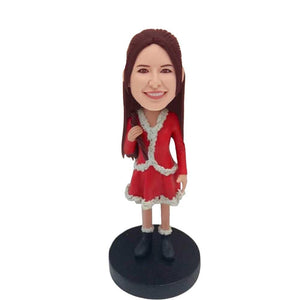 Charming Lady In Red Christmas Dress Custom Bobblehead